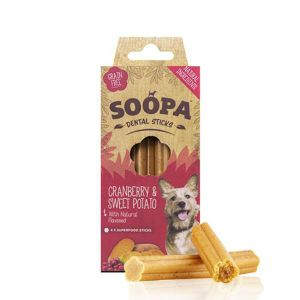 Soopa Dental Sticks - Cranberry & Sweet Potato | Paws Up
